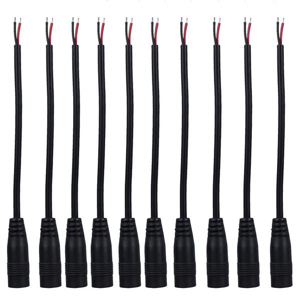 12V DC Power Pigtail Famale 5.5* 2.1mm Cable Plug Wire 20pcs