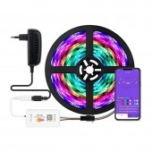 WS2811 5050 LED RGB Light Strip Bluetooth APP Controller Built-in Mic Sync To Music For Party