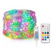 USB RGB LED Pixels String Christmas Lights with RF Controller WS2812B Light 5V
